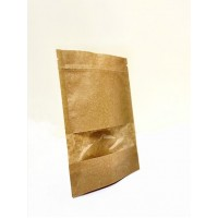 Пакет дой-пак 130 х 200 мм, крафт с прозрачным окошком