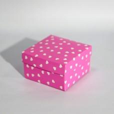 Коробка подарочная 90 х 90 х 50 мм «Pink Hearts», крышка+дно