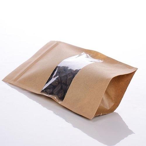 Пакет дой-пак из крафт-бумаги с прозрачным окном