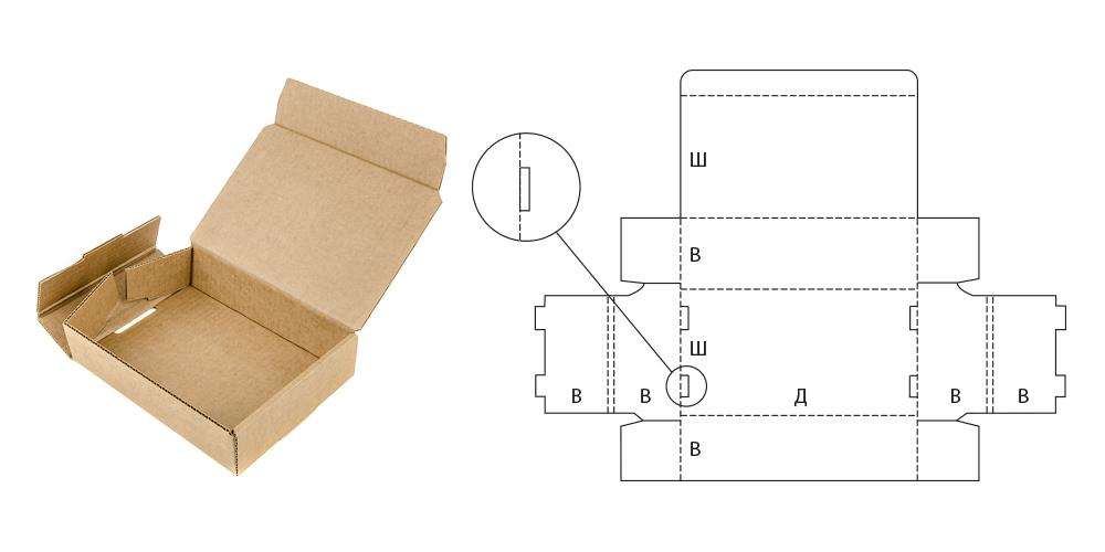 Самосборная картонная коробка и ее чертеж