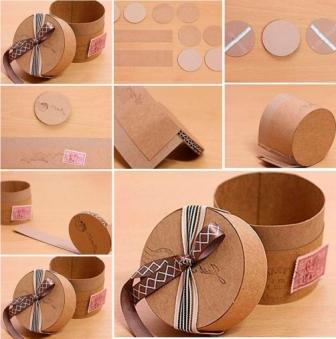 Кругла картонна коробочка для подарунка