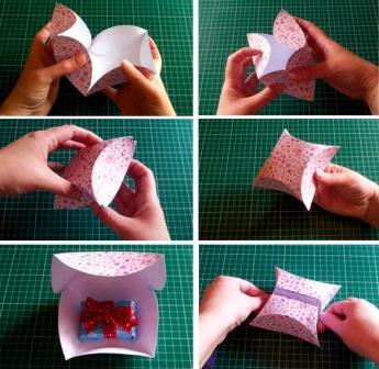 Подарункова коробка з бантиком: крок 2